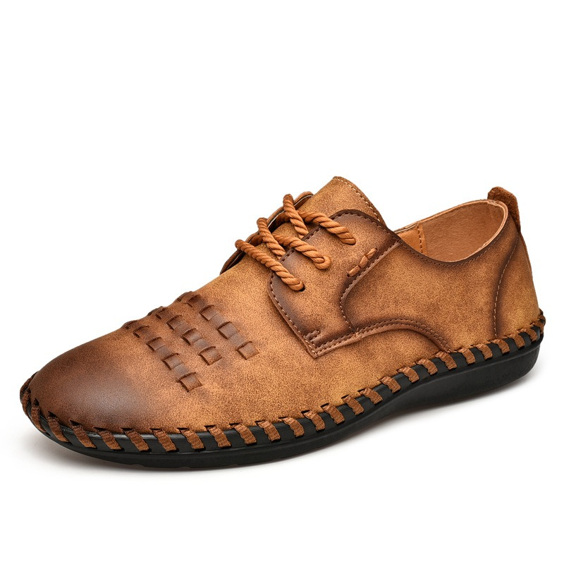 Men Cowhide Hand Stitching Soft Soles Casual Business Oxfords