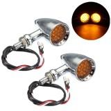 12V Motorcycle Bullet 20 LED Turn Signal Indicator Lights Amber Edge Cut Aluminum Alloy