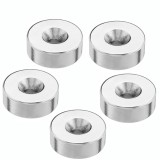Effetool 5pcs 25mmx10mm 5mm Hole Round Magnet Ring Rare Earth Neodymium Magnet