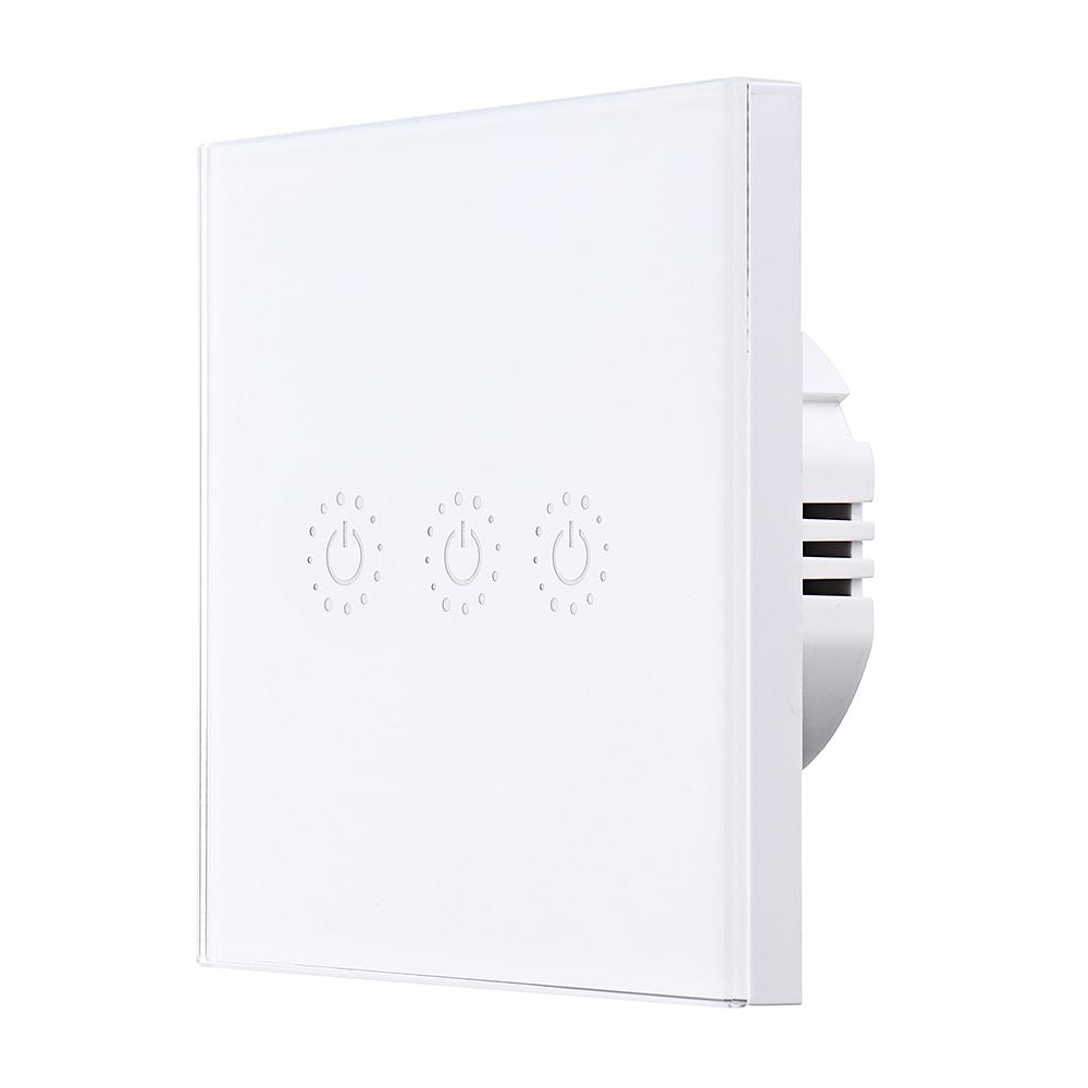 Tuya Smart Life EU 3 Gang Smart WIFI Light Switch Interruptor Touch Wall Power Switch App Remote Control Intellegent Switch Work With Alexa Google Home