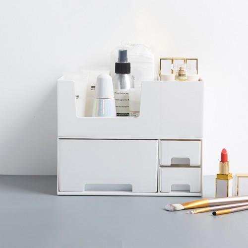 Single/Double Top/Bottom/Tiers Desktop Plastic Organizer Makeup Cosmetic Storage Box
