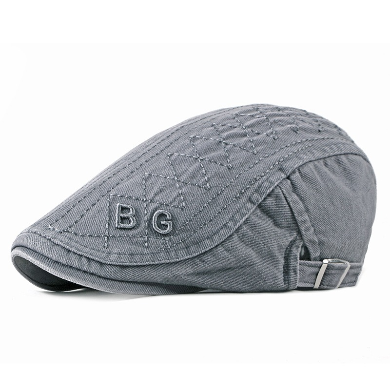 Men Cotton Letter Embroidered Adjustable Painter Beret Caps Newsboy Cabbie Flat Hat