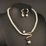 Elegant Pearl Rhinestone Jewelry Set 1 Pair Earrings 1 Pcs Necklace Women Jewelry Set