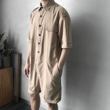 Mens Military Style Pockets Workwear Rompers Belt Loose Overalls Jumpsuit