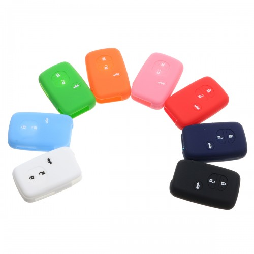 3 Buttons Silicone Fob Remote Key Case Cover Fit For Toyota Prado Crown Reiz