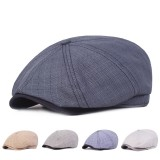 Men Visor Linen Newsboy Beret Caps Outdoor Casual Cabbie Ivy Flat Hat