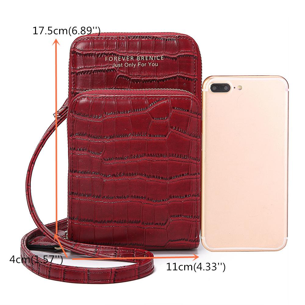 Brenice Women Crocodile Pattern Multi-Card Slots Bag Phone Bag Crossbody Bag