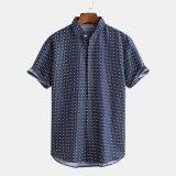 Mens Casual Floral Printed Cotton Buttons Short Sleeve Summer Shirts