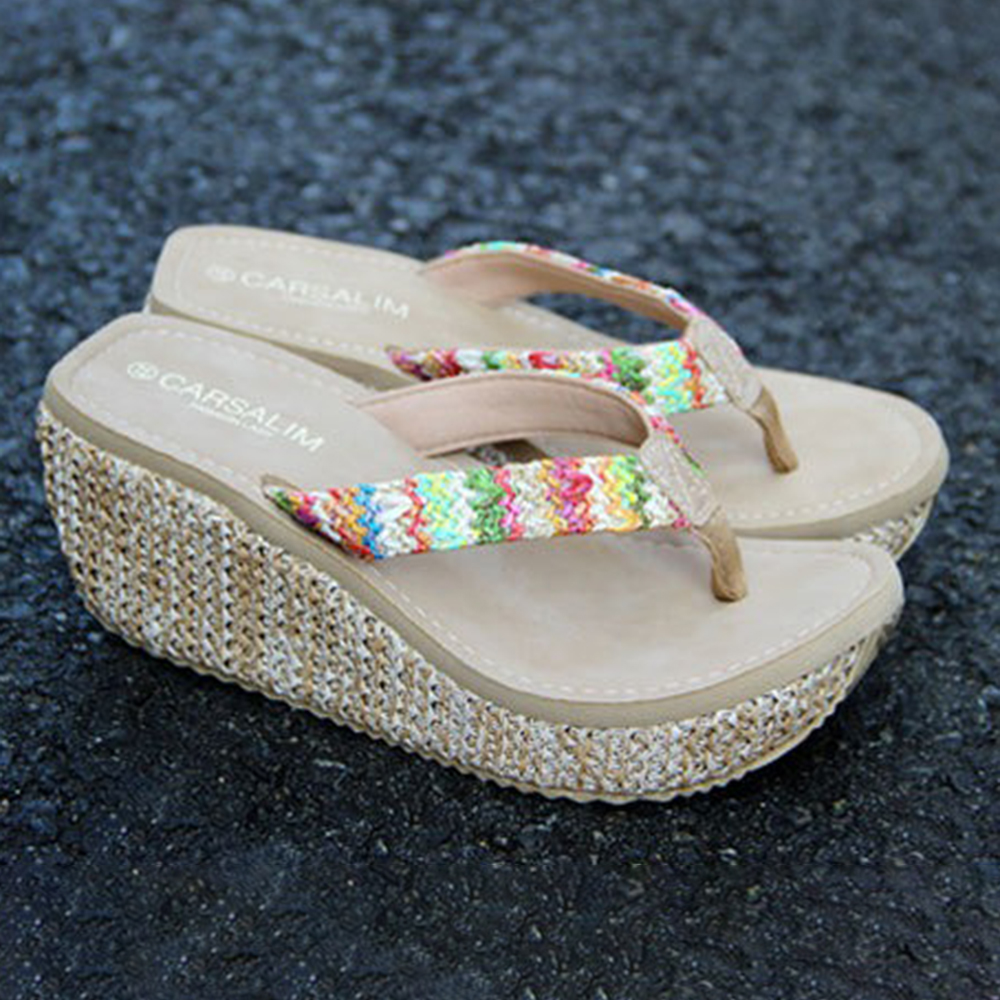 Bohemian Weave Slippers Slip On Wedges Sandals