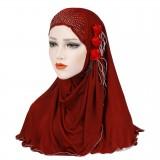 Women New Ice Silk Side Three Flower Tassels Arabian Hat Arab Wrap Scarf Turban Hat