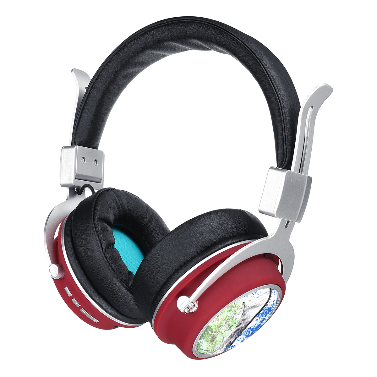 MH5 Wireless bluetooth 5.0 Headphone Foldable Pattern 3D Stereo TF Card AUX Headphone with Mic