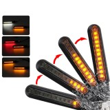 12V Pair Motorcycle 24 LED Turn Signal Flowing Lights Indicator with White DRL/Red Brake Lamp