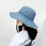 Women Denim Old Shabby Sunshade Bucket Hat Outdoor Sunscreen Big Visor Hat Floppy Hat