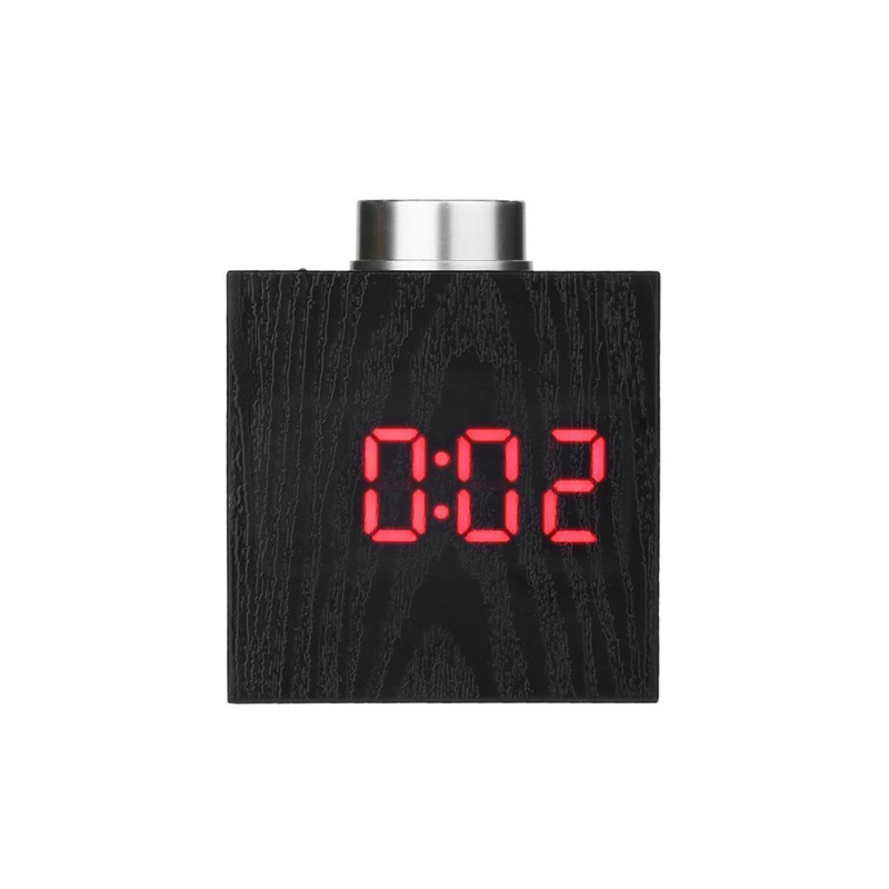 TS-T13 Wooden Grain LED Knob Digital  Electronic Creative Thermometer Hygrometer USB Charging Temperature and Humidity Measure