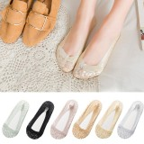 Women Summer Lace No Show Ankle Socks Elastic Breathable Liner Shallow Low Cut Nylon Socks
