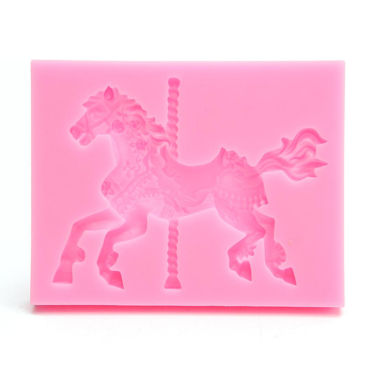Christmas Carousel Horse Silicone Fondant Cake Mold Emboss Sugarcraft Mould Xmas Baking Tools Alexnld Com