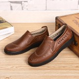 Men Microfiber Hollow Out Breathable Soft Sole Casual Oxfords