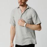 Men Pinstripe 100% Cotton Single Pocket Short Sleeve Shirts