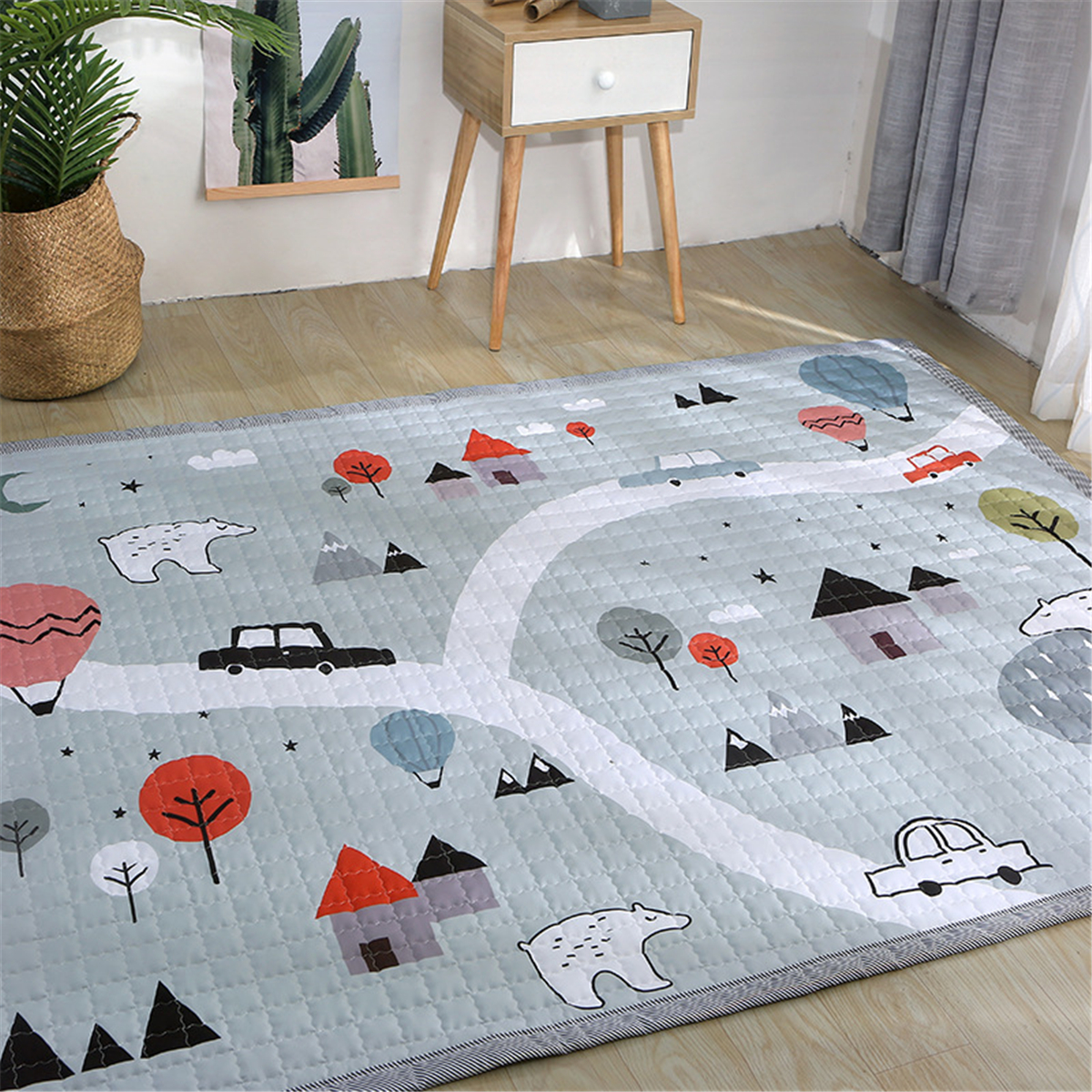 Polyester Baby Play Mat Crawling Kids Game Gym Activity Carpet Blanket Floor Rug