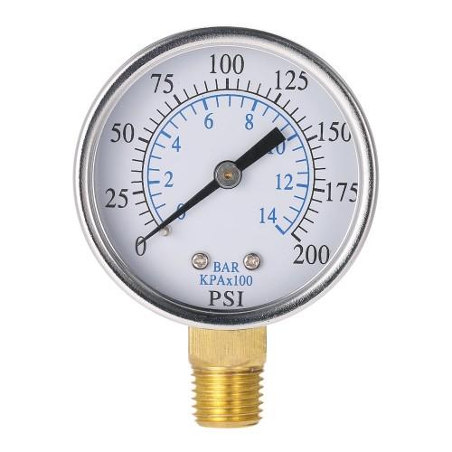 TS-50-14 Pressure Gauge 0-200psi 0-10bar 1/4 NPT Mini Pressure Gauge Air Compressor Hydraulic Vacuum Gauge Manometer Pressure Tester