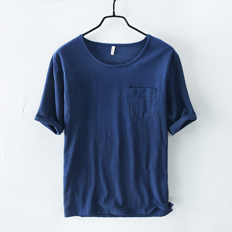 Men's Casual Cotton Linen Soft Loose O-neck Tops Short Sleeve T-Shirts