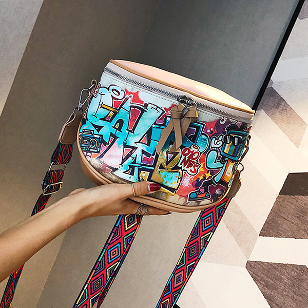 Women Fashion Multi-carry Bag Hip-Hop Graffiti Colorful Crossbody Bag