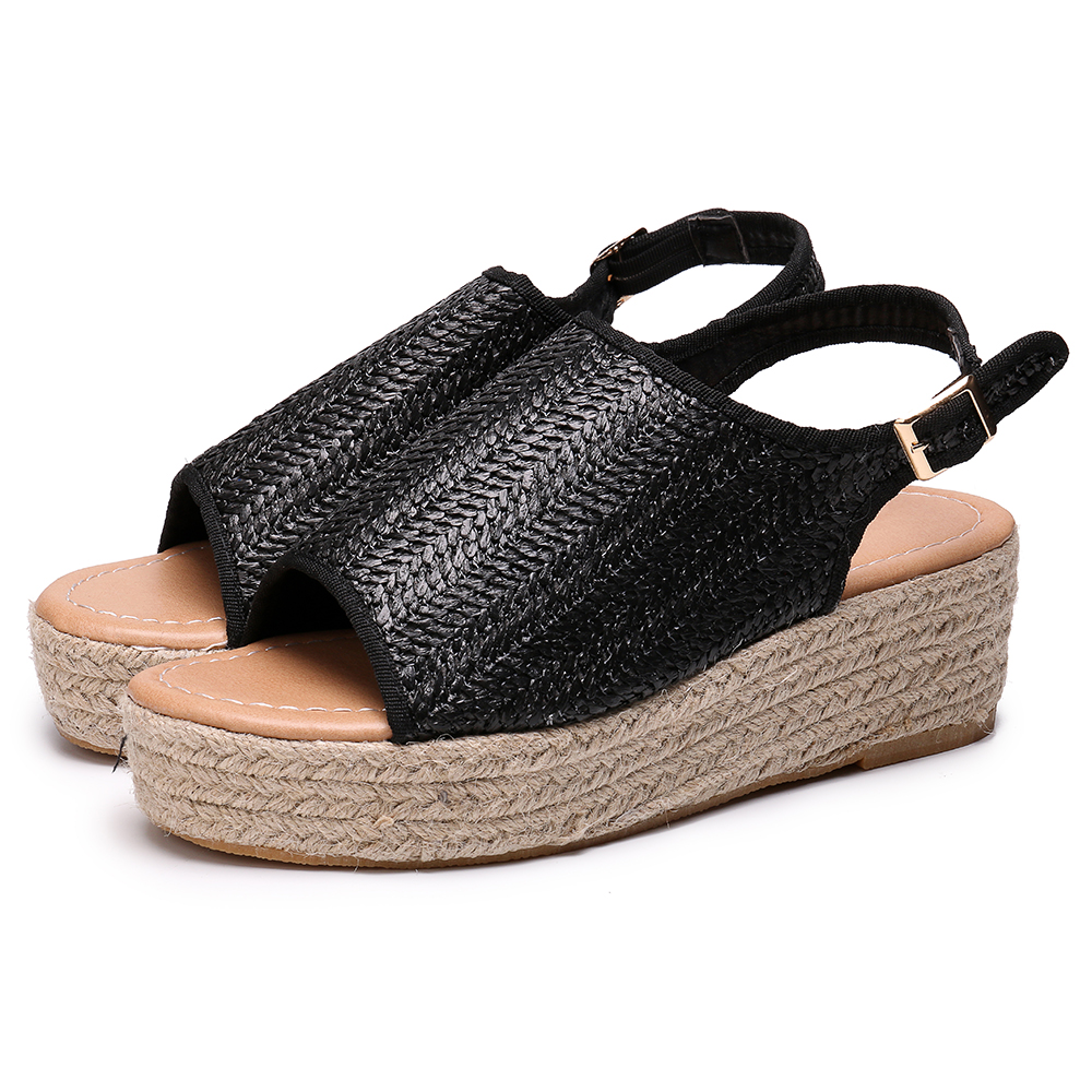 Large Size Peep Toe Weaving Platform Sandals For Women