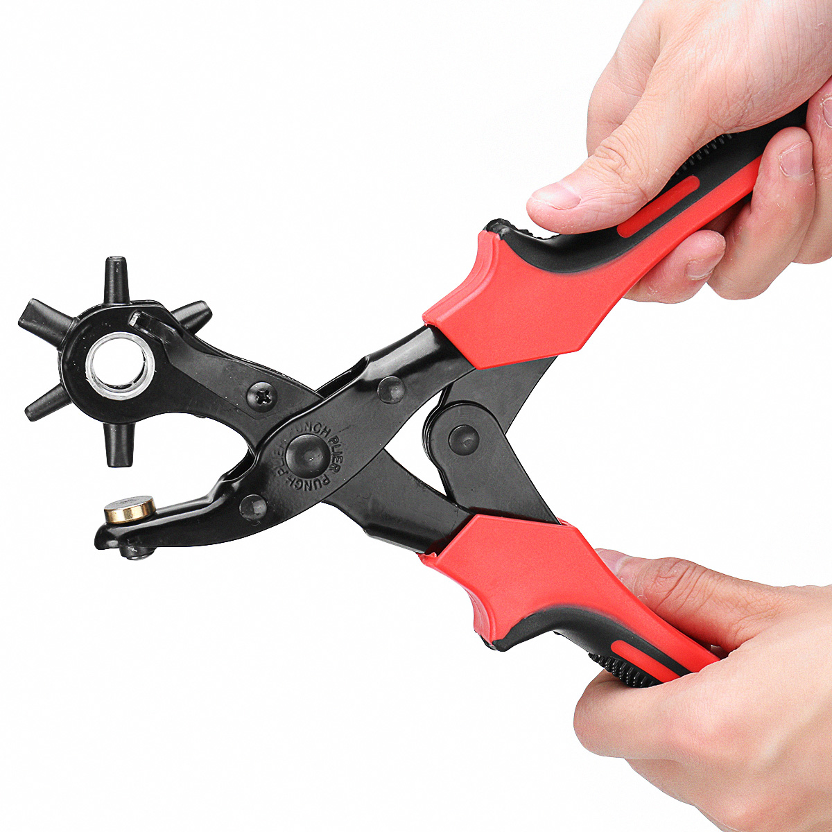 10 Inch Leather Revoling Hole Punch Heavy Duty 6 Size Pliers Punch Belt Holes Tool