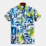 Mens Summer Fashion Colorful Printing Short Sleeve Casual Shirts
