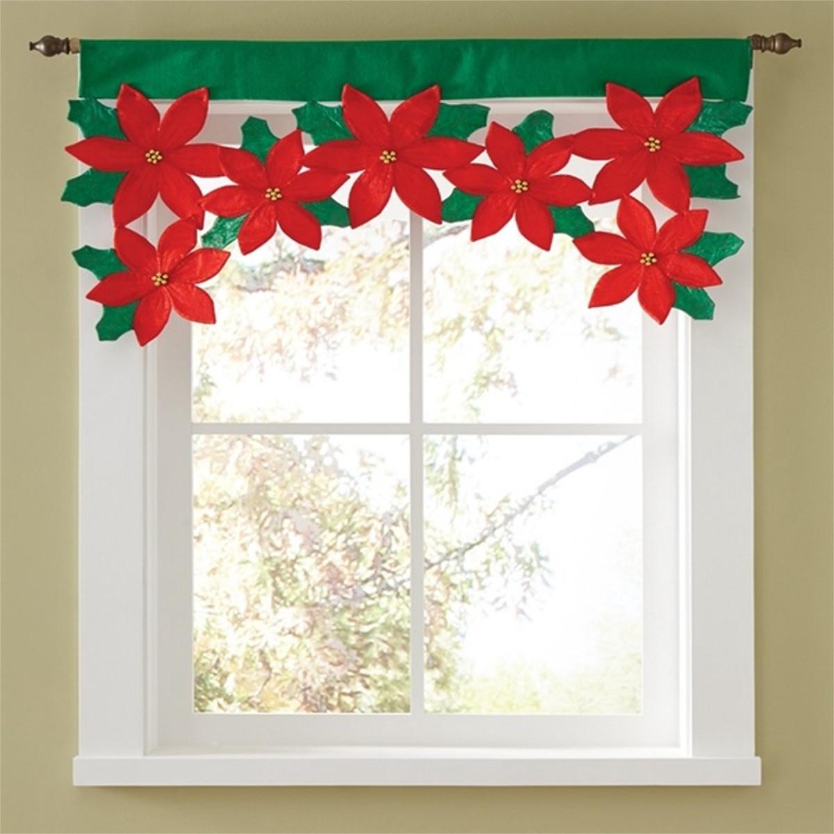 Christmas Petals Curtains Festival Xmas Flower Curtain Living Room Decoration