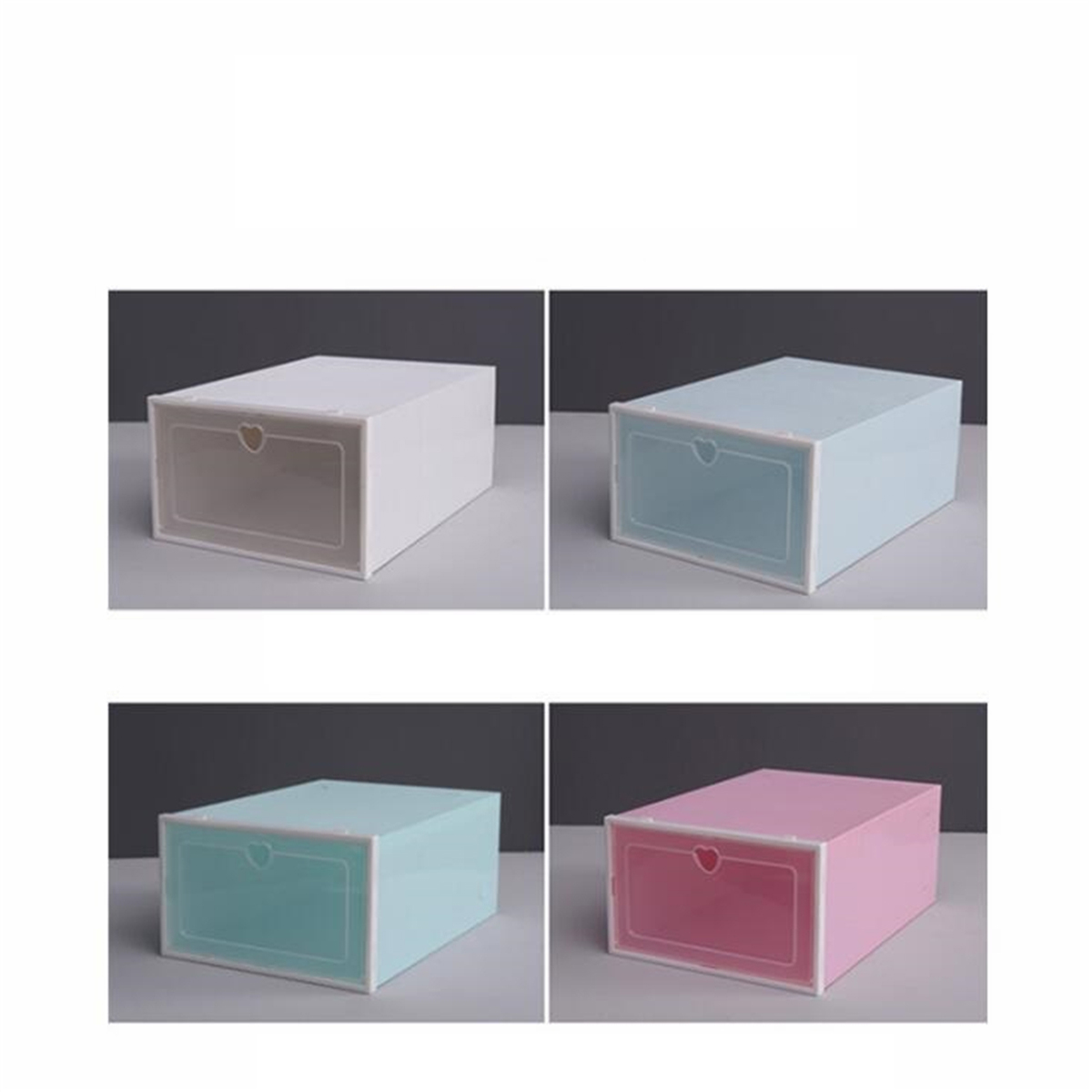 Foldable Clear Plastic Shoe Boxes Storage Organizer Stackable Tidy Box Baskets