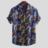 Men Hawaiian Colorful Leaf Printed Turn Down Collar Short Sleeve Loose Shirts
