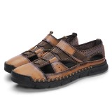 Men Retro Cowhide Breathable Mesh Casual Soft Sandals