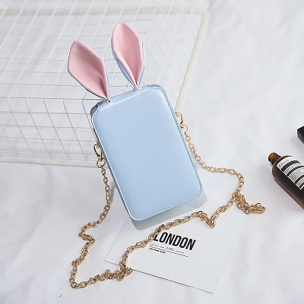 Women Cute Cartoon Rabbit Ear Chain Phone Bag Square Bag Bucket Bag Shoulder Bag