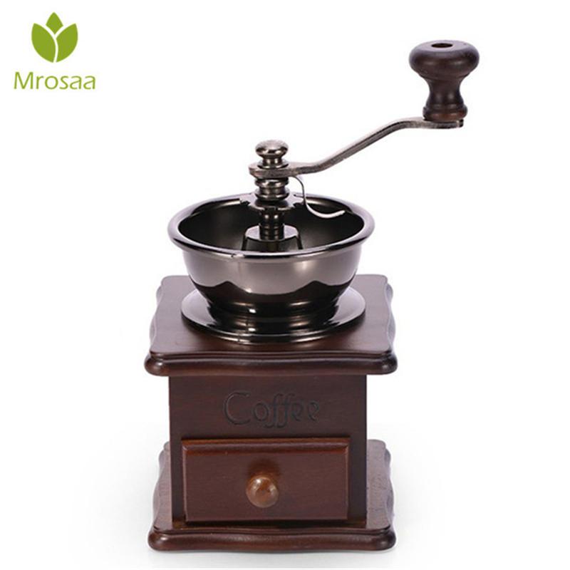 Manual Coffee Bean Grinder Retro Wooden Design Mill Maker Grinders Retro