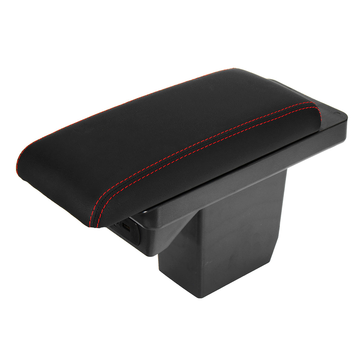 Leather Car Armrest Console Center Arm Rest Box Cover Cushion with Charger Port for Peugeot 2008 301 2017-2018/Citroen C3-XR
