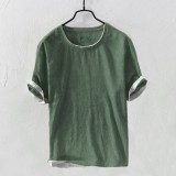 Mens Cotton Brief Solid Color Short Sleeve Summer Casual T-shirts