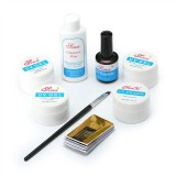 8Pcs UV Nail Gel Set Builder Primer Base UV Gel Top Coat Brush Cleanser Guide Sticker Form Nail Glue