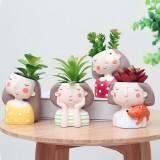 ROOGO Creative Models Artificial Flowers Resin Cartoon Succulents Flower Pot Micro Landscape Combination Home Decoration