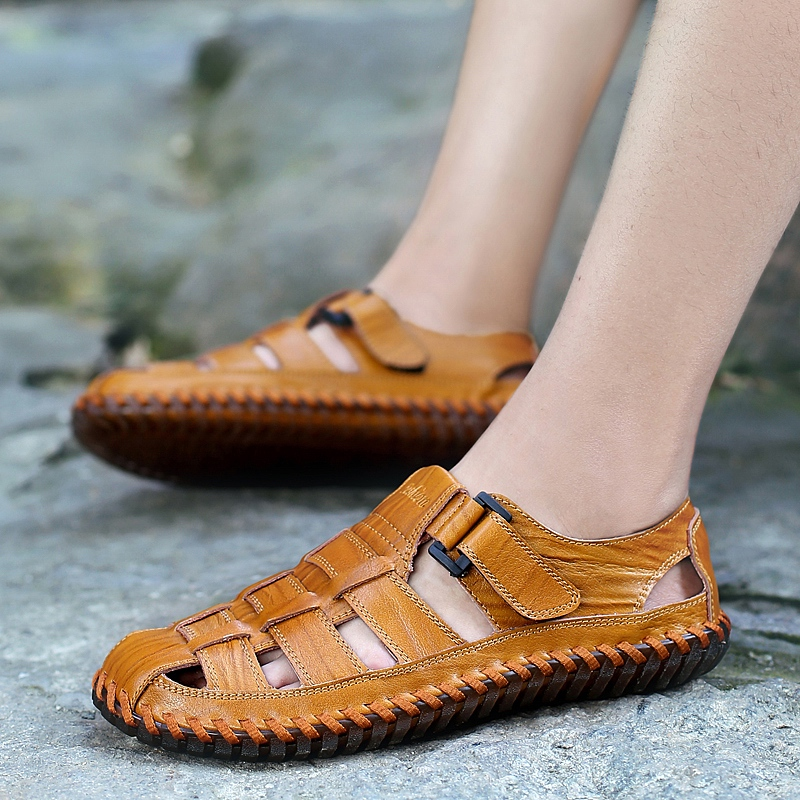 Men Handmade Stitching Casual Soft Genuine Leather Sandals