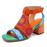 SOCOFY Pattern Hollow out Chunky Heel Hook Loop Leather Sandals