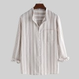 Mens 100% Cotton Vintage Striped Stand Collar Long Sleeve Loose Casual Shirts