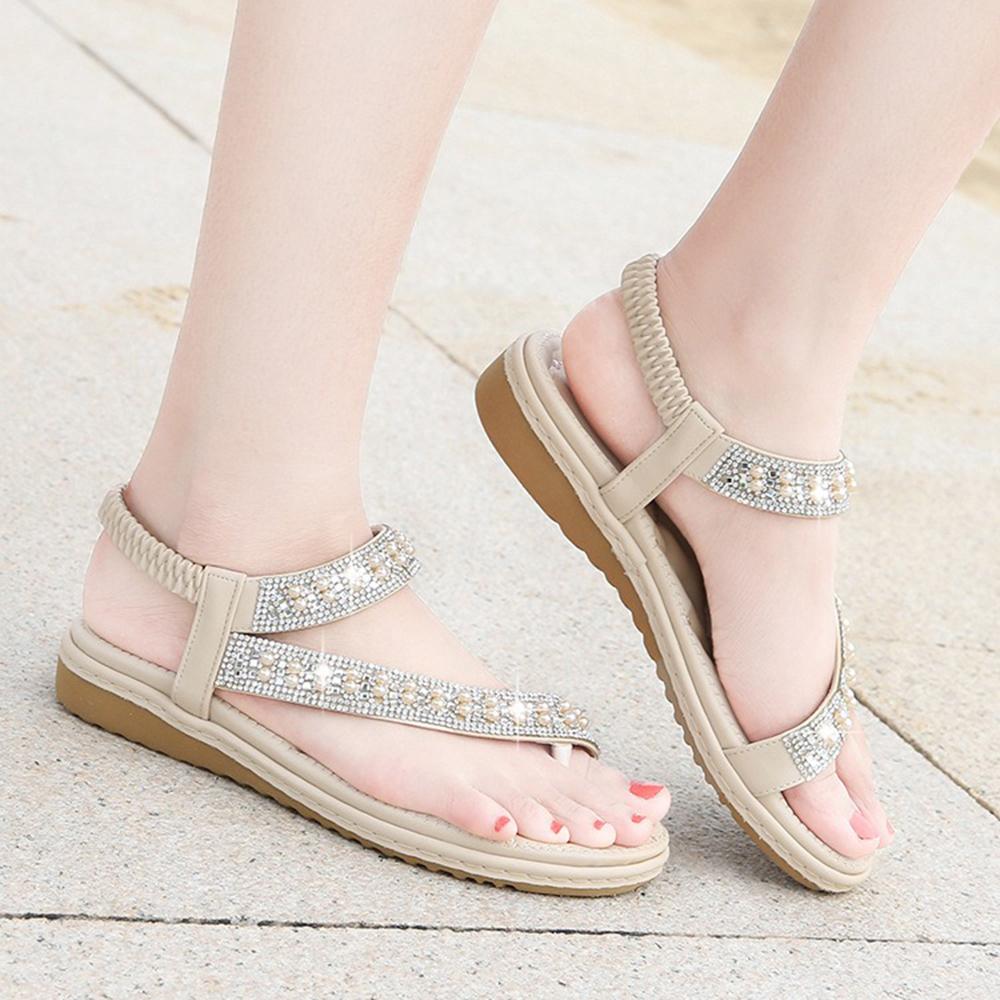 Bohemian Rhinestone Clip Toe Flip Flops Soft Bottom Flat Sandals