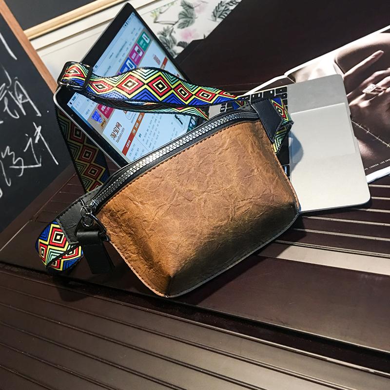 Men Fashion Casual Phone Bag Ethnic Strap Hip-Hop Chest Crossbody Bag