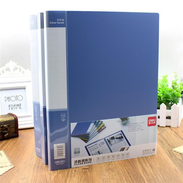 Deli 5060 Anti-static A4 File Folder 60 Pages Brochure Folder Insert Clip Document Folder Information booklet Desktop File Organizer Office School Supplies