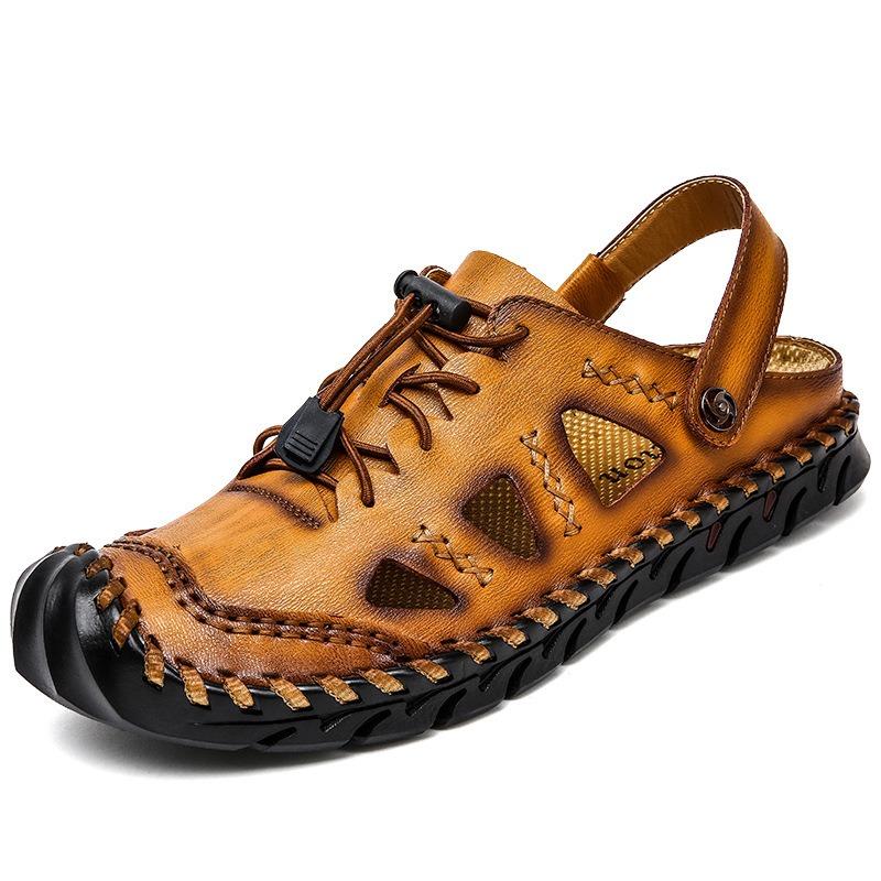 Men Casual Hand Stitching Soft Soles Elastic Band Sandals