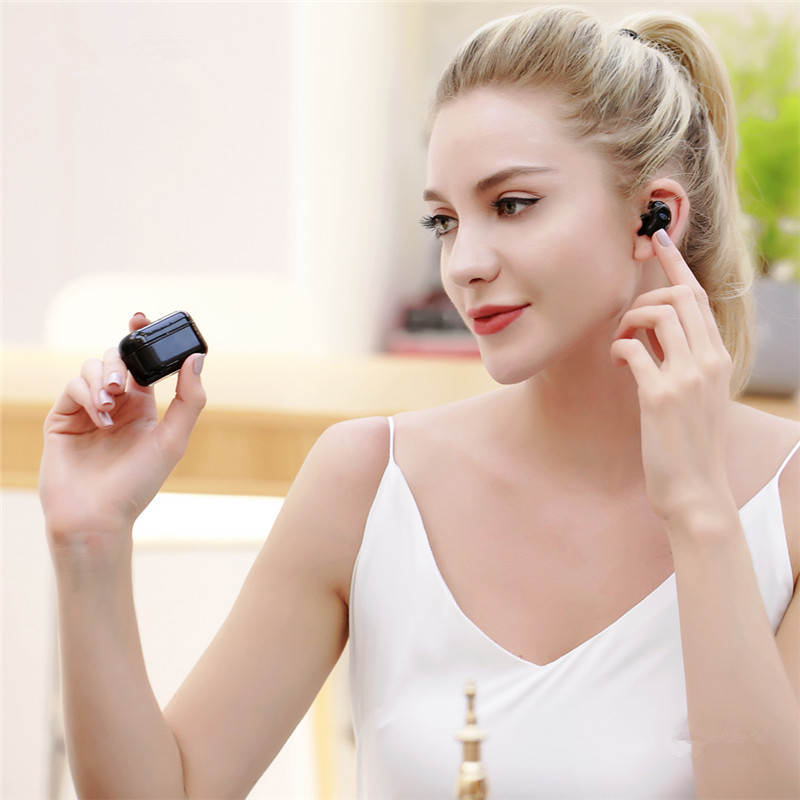 REMAX TWS-5 Mini True Wireless Dual bluetooth 5.0 Stereo Earphone Touch Waterproof Binaural Call Handsfree With Portable Charging Case