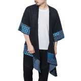Men Casual Trench Shirt Floral Printed Cardigans Half Sleeve Loose Long Cloak Coats