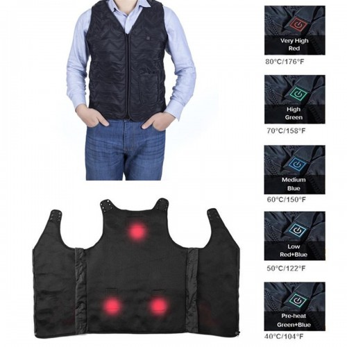 Outdoor Men Winter Cycling Vest Rechargeable Heated Body Breathable Warm Jacket