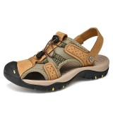 Men Soft Comfy Outdoor Hiking Leather Slipper Sandals